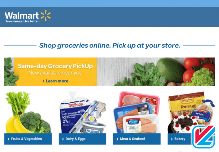 Walmart Same day grocery pickup website image,