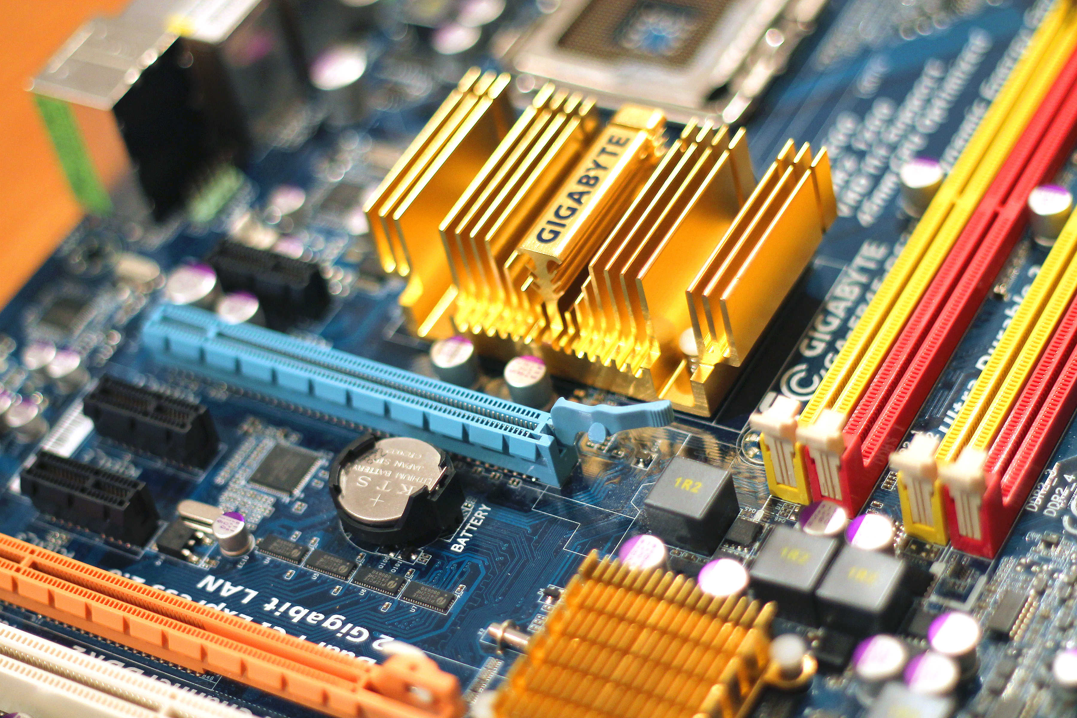close up image of a computer system gigabyte and circuit board